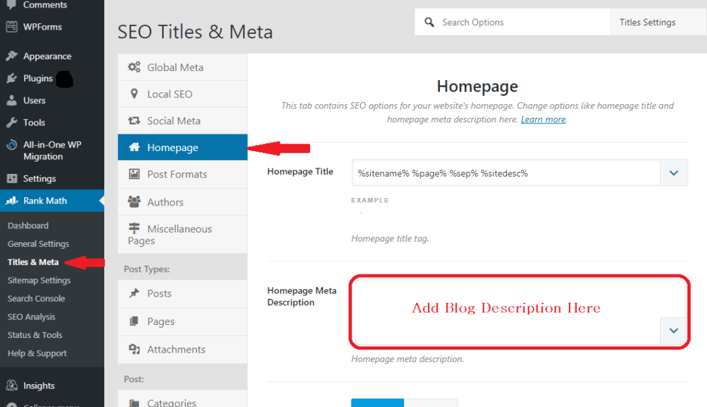 Write blog description using Rankmath plugin in wordpress