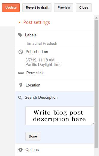 Write blog post description in blogspot